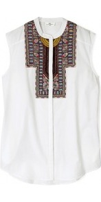 Day Ornamental Embroidered Bib Sleeveless Shirt Day Birge - neckline: mandarin; sleeve style: sleeveless; bust detail: added detail/embellishment at bust; style: shirt; predominant colour: white; occasions: casual, holiday; length: standard; fibres: cotton - 100%; fit: straight cut; sleeve length: sleeveless; texture group: cotton feel fabrics; pattern type: fabric; pattern size: small &amp; light; pattern: patterned/print; embellishment: embroidered
