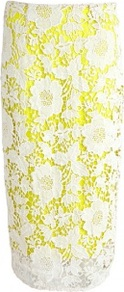 Ainara Lace Crochet Skirt - length: below the knee; style: straight; fit: tailored/fitted; waist: mid/regular rise; predominant colour: yellow; occasions: evening, work, occasion; fibres: polyester/polyamide - 100%; texture group: lace; pattern type: fabric; pattern size: standard; pattern: florals