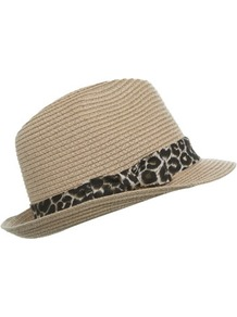 Leopard Trim Trilby - predominant colour: stone; occasions: casual, holiday; type of pattern: small; style: trilby; size: standard; material: macrame/raffia/straw; embellishment: ribbon; pattern: animal print