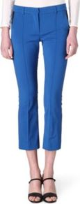 Valeria Trousers - pattern: plain; style: capri; waist: mid/regular rise; predominant colour: royal blue; occasions: casual, evening, work; length: calf length; fibres: polyester/polyamide - stretch; fit: tapered; pattern type: fabric; pattern size: standard; texture group: woven light midweight