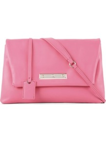 Albion Foldover Clutch - occasions: casual, evening, work, occasion; type of pattern: standard; style: clutch; length: hand carry; size: small; material: leather; pattern: plain; finish: plain; predominant colour: dusky pink