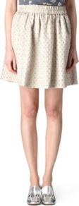 Romy Polka Dot Skirt - length: mid thigh; fit: body skimming; style: pleated; waist detail: elasticated waist; waist: high rise; pattern: polka dot; predominant colour: stone; occasions: casual, work; fibres: polyester/polyamide - mix; pattern type: fabric; pattern size: small &amp; busy; texture group: brocade/jacquard