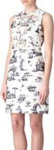 Cut Out Safari Print Dress - style: shift; length: mid thigh; fit: tailored/fitted; sleeve style: sleeveless; bust detail: added detail/embellishment at bust; waist detail: fitted waist; predominant colour: white; occasions: evening, occasion, holiday; fibres: cotton - 100%; neckline: crew; sleeve length: sleeveless; pattern type: fabric; pattern size: small &amp; busy; pattern: patterned/print; texture group: other - light to midweight
