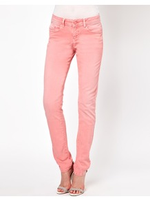 Elgin Supersoft Skinny Jeans In Washed Coral - style: skinny leg; length: standard; pattern: plain; waist: low rise; pocket detail: traditional 5 pocket; predominant colour: coral; occasions: casual; fibres: cotton - stretch; texture group: denim; pattern type: fabric; embellishment: studs