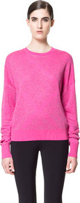 Brocade Pattern Jacquard Sweater - pattern: plain; style: standard; predominant colour: hot pink; occasions: casual, work; length: standard; fibres: linen - mix; fit: standard fit; neckline: crew; sleeve length: long sleeve; sleeve style: standard; texture group: knits/crochet; pattern type: knitted - fine stitch; pattern size: small &amp; light