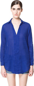 V Neck Blouse - pattern: plain; length: below the bottom; style: blouse; predominant colour: royal blue; occasions: casual, work, holiday; neckline: mandarin with v-neck; fibres: cotton - mix; fit: loose; sleeve length: long sleeve; sleeve style: standard; texture group: cotton feel fabrics; pattern type: fabric; pattern size: standard