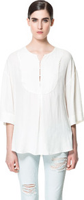 Flowing Kaftan - neckline: round neck; pattern: plain; length: below the bottom; style: kaftan; predominant colour: white; occasions: casual, holiday; fibres: polyester/polyamide - 100%; fit: loose; bust detail: contrast pattern/fabric/detail at bust; sleeve length: 3/4 length; sleeve style: standard; texture group: cotton feel fabrics; pattern type: fabric; pattern size: standard