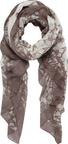 Blake Print Scarf - predominant colour: taupe; occasions: casual, work; type of pattern: standard; style: regular; size: standard; material: fabric; pattern: patterned/print