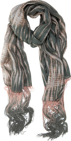 Rea Print Scarf - predominant colour: charcoal; occasions: casual, evening, work; type of pattern: standard; style: regular; size: standard; material: fabric; embellishment: fringing; pattern: patterned/print
