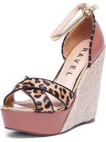 Tan Wedge Heel Espadrille - occasions: casual, holiday; predominant colour: multicoloured; material: leather; embellishment: buckles; ankle detail: ankle strap; heel: wedge; toe: open toe/peeptoe; style: standard; finish: plain; pattern: animal print; heel height: very high