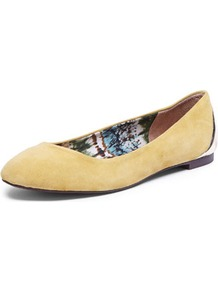 Mustard Ballet Pump - predominant colour: mustard; occasions: casual, work; material: leather; heel height: flat; toe: round toe; style: ballerinas / pumps; finish: plain; pattern: plain