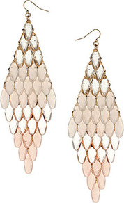 Tonal Bead Drop Earrings - predominant colour: gold; occasions: evening, occasion, holiday; style: chandelier; length: long; size: large/oversized; material: chain/metal; fastening: pierced; trends: metallics; finish: metallic; embellishment: chain/metal
