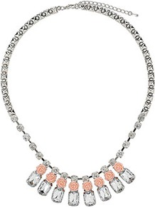 Pretty Rose Necklace - predominant colour: blush; secondary colour: silver; occasions: evening, occasion, holiday; style: bib; length: mid; size: standard; material: chain/metal; finish: metallic; embellishment: crystals