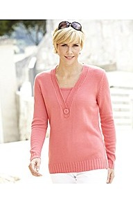 V Neck Jumper Button Trim Length 25in - neckline: v-neck; pattern: plain; style: standard; bust detail: buttons at bust (in middle at breastbone)/zip detail at bust; predominant colour: pink; occasions: casual, work; length: standard; fibres: acrylic - 100%; fit: standard fit; sleeve length: long sleeve; sleeve style: standard; texture group: knits/crochet; pattern type: knitted - fine stitch