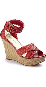Plaited Wedge Sandals D Fit - predominant colour: true red; occasions: casual, holiday; material: faux leather; heel height: high; embellishment: buckles; ankle detail: ankle strap; heel: wedge; toe: open toe/peeptoe; style: strappy; finish: plain; pattern: plain