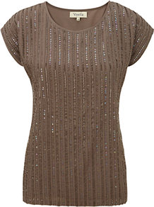 Beaded Shell Top, Sable - neckline: round neck; pattern: horizontal stripes; style: t-shirt; predominant colour: chocolate brown; occasions: casual, evening, work; length: standard; fibres: polyester/polyamide - 100%; fit: body skimming; sleeve length: short sleeve; sleeve style: standard; texture group: jersey - clingy; pattern type: fabric; pattern size: small & light; embellishment: beading