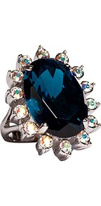 Silver Toned Blue Gemstone Daisy Ring - predominant colour: royal blue; occasions: evening, occasion; style: cocktail; size: large/oversized; material: chain/metal; finish: metallic; embellishment: jewels