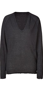 Anthracite Cashmere V Neck Apple Pullover - neckline: v-neck; pattern: plain; style: standard; predominant colour: charcoal; occasions: casual, work; length: standard; fit: standard fit; fibres: cashmere - 100%; sleeve length: long sleeve; sleeve style: standard; texture group: knits/crochet; pattern type: knitted - fine stitch; pattern size: standard