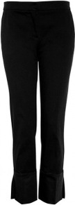 Black Cotton Stretch Satin Cuffed Trousers - pattern: plain; waist: mid/regular rise; predominant colour: black; occasions: evening, work; length: ankle length; fibres: cotton - mix; fit: straight leg; pattern type: fabric; pattern size: standard; texture group: other - light to midweight; style: standard