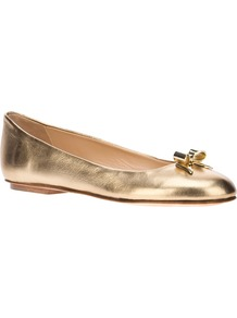 Metallic Ballerina - predominant colour: gold; occasions: casual, holiday; material: leather; heel height: flat; toe: round toe; style: ballerinas / pumps; trends: metallics; finish: metallic; pattern: plain; embellishment: chain/metal