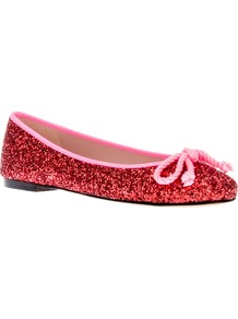 Ballerina Pump - predominant colour: true red; occasions: casual, work, occasion; material: leather; heel height: flat; embellishment: glitter; toe: round toe; style: ballerinas / pumps; finish: metallic; pattern: plain