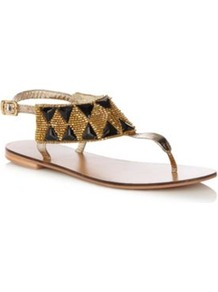 Light Gold Beaded Strap Sandals - predominant colour: gold; occasions: casual, evening, holiday; material: faux leather; heel height: flat; embellishment: beading; ankle detail: ankle strap; heel: standard; toe: toe thongs; style: flip flops / toe post; finish: metallic; pattern: diamonds