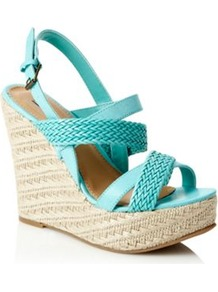 Turquoise Rope Trimmed High Wedge Sandals - predominant colour: turquoise; occasions: casual, holiday; material: faux leather; heel height: high; embellishment: buckles; heel: wedge; toe: open toe/peeptoe; style: strappy; finish: plain; pattern: plain