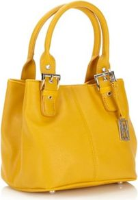 Designer Yellow Crosshatch Buckle Grab Bag - predominant colour: yellow; occasions: casual, evening, work; type of pattern: standard; style: tote; length: handle; size: standard; material: faux leather; pattern: plain; finish: plain