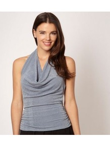 Silver Metallic Flecked Cowl Neck Top - neckline: cowl/draped neck; pattern: plain; sleeve style: sleeveless; back detail: low cut/open back; bust detail: ruching/gathering/draping/layers/pintuck pleats at bust; predominant colour: silver; occasions: evening, holiday; length: standard; style: top; fibres: nylon - mix; fit: body skimming; sleeve length: sleeveless; trends: metallics; pattern type: fabric; texture group: jersey - stretchy/drapey
