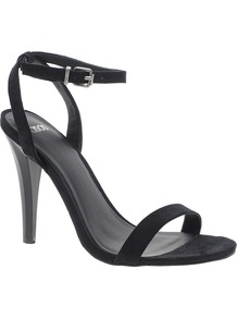 Henley Heeled Sandals - predominant colour: black; occasions: evening, occasion; material: faux leather; heel height: high; embellishment: buckles; ankle detail: ankle strap; heel: stiletto; toe: open toe/peeptoe; style: strappy; finish: plain; pattern: plain