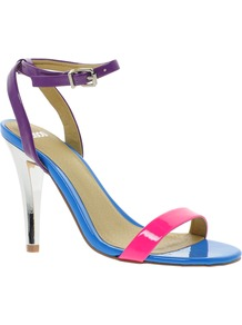 Henley Heeled Sandals - occasions: casual, evening, holiday; predominant colour: multicoloured; material: faux leather; heel height: high; embellishment: buckles; ankle detail: ankle strap; heel: stiletto; toe: open toe/peeptoe; style: strappy; finish: patent; pattern: colourblock