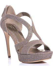 Metallic Glitter Sandals - predominant colour: gold; occasions: evening, occasion; material: leather; heel height: high; embellishment: glitter; heel: platform; toe: open toe/peeptoe; style: strappy; trends: metallics; finish: metallic; pattern: plain