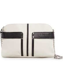 Touch Two Tone Shoulder Bag - predominant colour: white; secondary colour: black; occasions: evening; style: shoulder; length: shoulder (tucks under arm); size: small; material: faux leather; pattern: plain; finish: plain