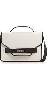 Touch Two Tone Shoulder Bag - predominant colour: ivory; secondary colour: black; occasions: casual; type of pattern: light; style: satchel; length: across body/long; size: small; material: faux leather; finish: plain; pattern: colourblock