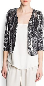 Sequined Crop Jacket - pattern: plain; style: cropped; collar: round collar/collarless; length: cropped; predominant colour: silver; occasions: evening, occasion; fit: straight cut (boxy); fibres: polyester/polyamide - 100%; sleeve length: long sleeve; sleeve style: standard; trends: metallics; pattern type: fabric; pattern size: standard; texture group: other - light to midweight; embellishment: sequins
