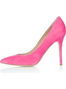 Gwenda Pointed Courts - predominant colour: pink; occasions: casual, evening, work, occasion; material: suede; heel height: high; heel: stiletto; toe: pointed toe; style: courts; trends: fluorescent; finish: plain; pattern: plain