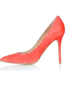 Gwenda Pointed Courts - predominant colour: coral; occasions: casual, evening, occasion, holiday; material: suede; heel height: high; heel: stiletto; toe: pointed toe; style: courts; trends: fluorescent; finish: fluorescent; pattern: plain