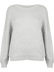 Tall Viscose Quilted Sweat - neckline: round neck; pattern: plain; style: standard; predominant colour: light grey; occasions: casual; length: standard; fibres: viscose/rayon - 100%; fit: loose; sleeve length: long sleeve; sleeve style: standard; pattern type: fabric; texture group: other - light to midweight; embellishment: quilted