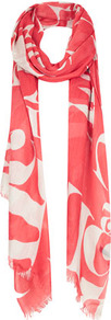 Abstract Letter Scarf - predominant colour: coral; occasions: casual, evening, work, holiday; type of pattern: large; style: regular; size: standard; material: fabric; embellishment: fringing; trends: statement prints; pattern: patterned/print
