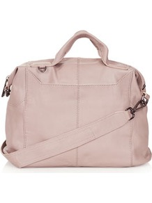 Washed Gladstone Holdall - predominant colour: blush; occasions: casual, evening, work; type of pattern: standard; style: bowling; length: handle; size: standard; material: leather; pattern: plain; finish: plain