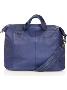 Washed Gladstone Holdall - predominant colour: navy; occasions: casual, evening, work; type of pattern: standard; style: bowling; length: handle; size: standard; material: leather; pattern: plain; finish: plain
