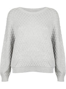 Petite Viscose Quilted Sweat - neckline: round neck; pattern: plain; style: standard; predominant colour: light grey; occasions: casual; length: standard; fibres: viscose/rayon - 100%; fit: loose; sleeve length: long sleeve; sleeve style: standard; pattern type: fabric; texture group: other - light to midweight; embellishment: quilted