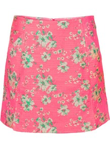 Pink Jacquard Mini Skirt - length: mini; fit: body skimming; waist: mid/regular rise; predominant colour: pink; occasions: casual, holiday; style: mini skirt; fibres: cotton - mix; trends: high impact florals; pattern type: fabric; pattern size: small & light; pattern: florals; texture group: brocade/jacquard