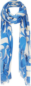 Abstract Letter Scarf - predominant colour: diva blue; occasions: casual, evening, work, holiday; type of pattern: large; style: regular; size: standard; material: fabric; embellishment: fringing; trends: statement prints; pattern: patterned/print