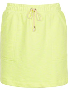 Fluro Drawcord Skirt - length: below the knee; pattern: plain; fit: body skimming; waist detail: belted waist/tie at waist/drawstring; waist: mid/regular rise; predominant colour: primrose yellow; occasions: casual, evening, holiday; style: mini skirt; fibres: cotton - mix; trends: sporty redux, fluorescent; pattern type: fabric; pattern size: standard; texture group: jersey - stretchy/drapey
