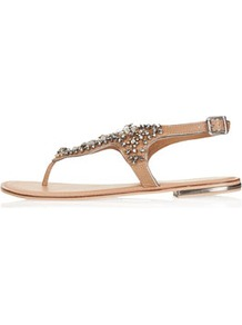 Fliss Embellished Sandals - predominant colour: tan; occasions: casual, evening, holiday; material: leather; heel height: flat; embellishment: crystals; ankle detail: ankle strap; heel: standard; toe: toe thongs; style: flip flops / toe post; trends: metallics; finish: plain; pattern: plain