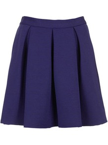 Colbalt Ribbed Pleat Skirt - length: mini; pattern: plain; fit: loose/voluminous; style: pleated; waist: mid/regular rise; predominant colour: navy; occasions: evening, work; fibres: polyester/polyamide - stretch; hip detail: structured pleats at hip; waist detail: narrow waistband; pattern type: fabric; pattern size: standard; texture group: other - light to midweight
