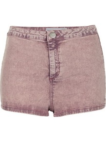 Moto Purple Acid Hotpant - pattern: plain; style: shorts; pocket detail: large back pockets; length: short shorts; waist: mid/regular rise; predominant colour: purple; occasions: casual, holiday; fibres: cotton - mix; texture group: denim; fit: skinny/tight leg; pattern type: fabric; pattern size: standard