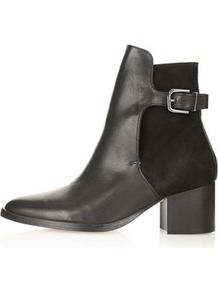 Paca Premium Leather Boots - predominant colour: black; occasions: casual, evening, work; material: leather; heel height: mid; embellishment: buckles; heel: block; toe: round toe; boot length: ankle boot; style: standard; finish: plain; pattern: plain
