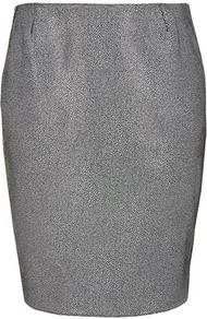 Printed Leather Pencil Skirt Boutique - style: pencil; fit: tailored/fitted; waist: mid/regular rise; predominant colour: silver; occasions: casual, evening, work; length: just above the knee; fibres: leather - 100%; texture group: leather; trends: metallics; pattern type: fabric; pattern size: small &amp; busy; pattern: patterned/print
